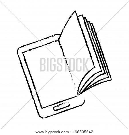 ebook or book download icon image sketch style vector illustration design