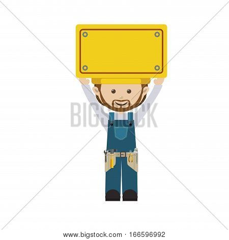 colorful man worker with toolkit and yellow billboard vector illustration