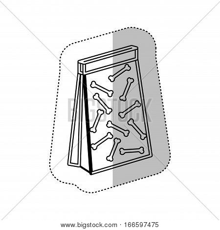 monochrome contour with middle shadow sticker with pet bag for poop vector illustration