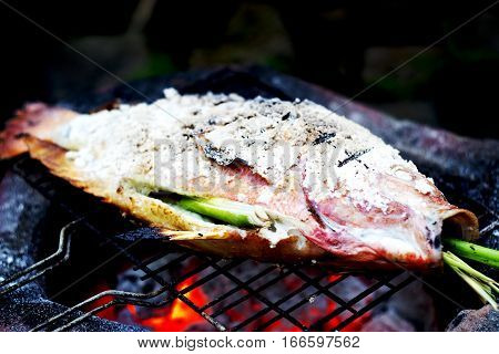 Grilled Fish With Salt On Fire