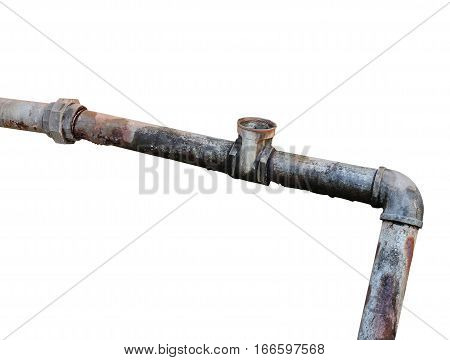 Plumbing Steel dilapidated water pipe old rusty Dirty drinking isolated on white background and clipping path