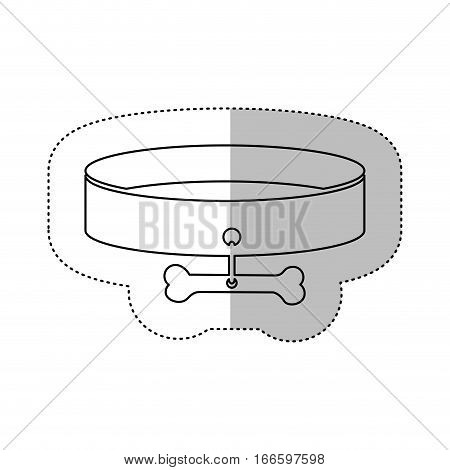 monochrome contour middle shadow sticker with necklace and bone vector illustration