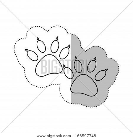 monochrome contour middle shadow sticker with dog footprint vector illustration