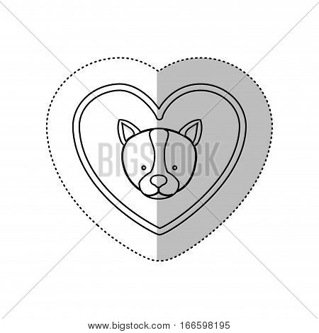 monochrome contour with middle shadow sticker with husky dog inside of heart vector illustration