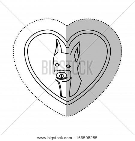 monochrome contour with middle shadow sticker with doberman pinscher inside of heart vector illustration