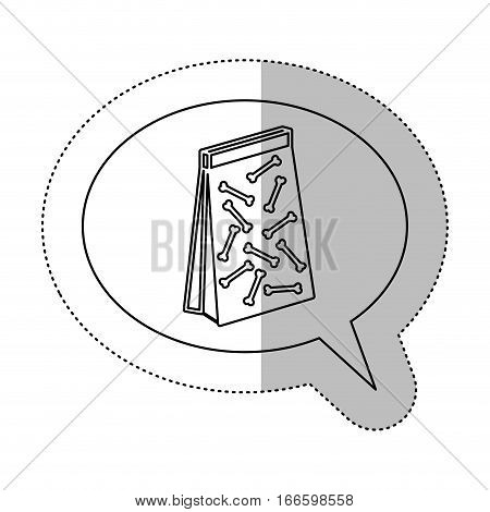monochrome contour with middle shadow sticker and dialogue sphere with pet bag for poop vector illustration