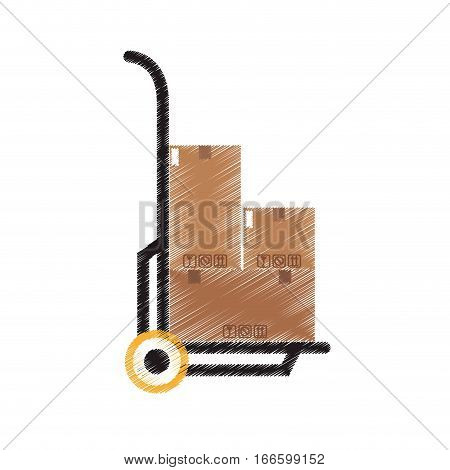 handcart with carton boxes icon over white background. colorful design. vector illustration