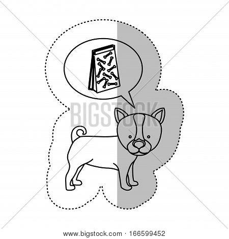 monochrome contour middle shadow sticker with husky dog thinking pet bag poop vector illustration