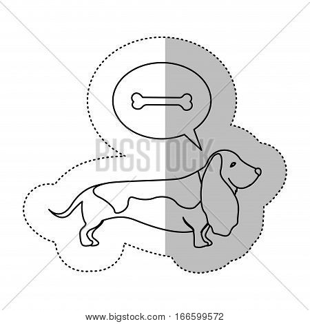 monochrome contour middle shadow sticker with Bassett hound thinking pet bone vector illustration