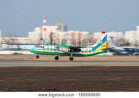 Kiev Ukraine - March 15 2011: Ukraine Border Guard Antonov An-24RV plane is taking off for a training flight