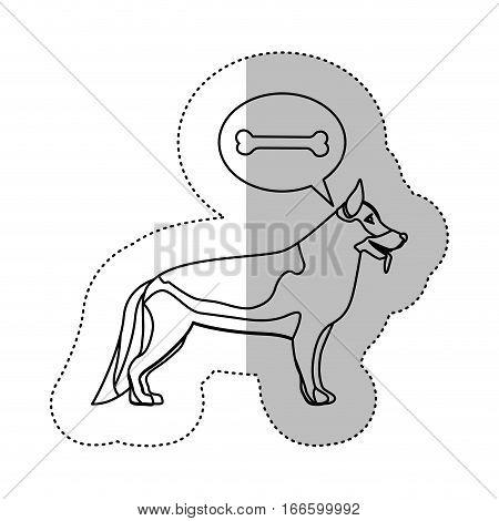 monochrome contour middle shadow sticker with german shepherd dog thinking bone vector illustration