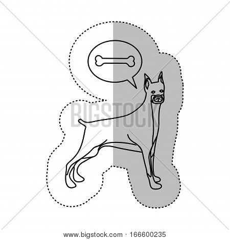 monochrome contour middle shadow sticker with doberman pinscher dog thinkingg bone vector illustration