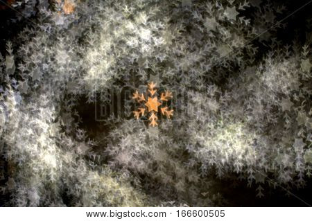 A multitude of numerous bright white stellar dendrites snowflakes with one lone golden glittery snowflake in the center on a dark black background bokeh effect