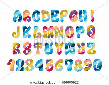 Psychedelic font with colorful pattern. Vintage hippie alphabet isolated on white.