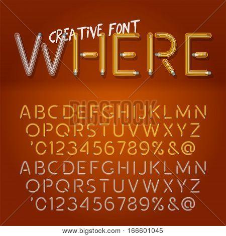 Creative realistic lamps font. Light Bulb Text Effect. Vector light bulb lamp alphabet isolated on orange background. Vector illustration