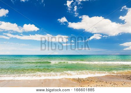 Beautiful Sea Coast And Blue Sky