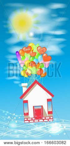 House on the balloons to fly the sky with clouds. Illustrations. Use for Website, phone, computer, printing, fabric, decoration design etc