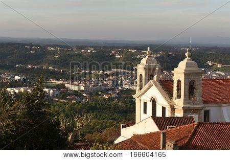 Church and landscape of Ourem Beiras region Portugal