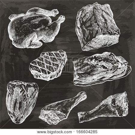 natural meat. set of hand drawn vector sketches on a black background
