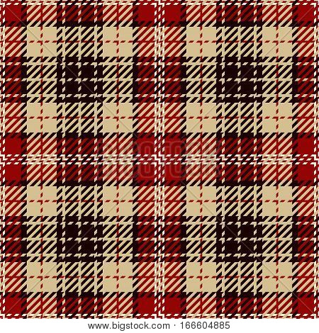 Tartan Seamless Pattern Background. Red Black White and Camel Beige Plaid Tartan Flannel Shirt Patterns. Trendy Tiles Vector Illustration for Wallpapers.