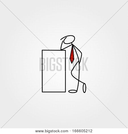 Cartoon icons set of sketch stick business figure vector people in cute miniature scenes.