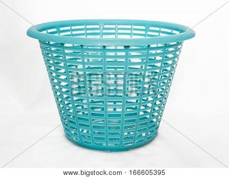 Plastic basket isolated on white background (object)