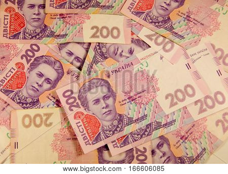 Ukrainian money. Background of the two hundred hryvnia banknotes