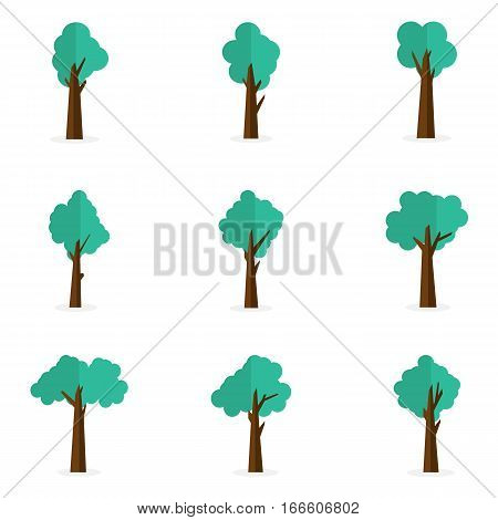 Collection stock of tree vector art illustration