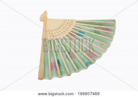 Chinese folding fan isolated on white background
