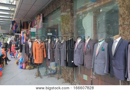 SHANGHAI CHINA - OCTOBER 31, 2016: Unidentified people visit South Bund Fabric market. South Bund Fabric market hosts hundereds of tailors and is the prime destination for bespoke clothing garments.