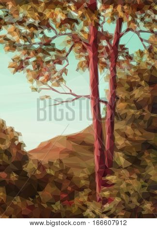 Landscape, Autumn Forest with Red Trees, Low Poly. Vector