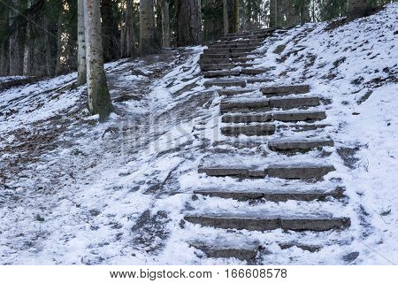 snow on an old ladder with stone steps in the winter park