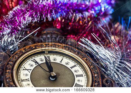 2017 new year old clock. 2017 new year. macro