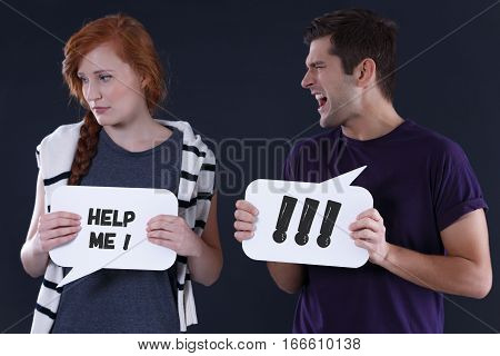 Shouting Man And Stressed Girl