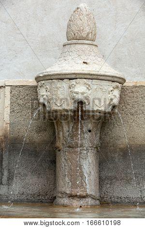 VERONA, ITALY - MAY 1, 2016: Small fountain in Castelvecchio Museum. Verona Italy