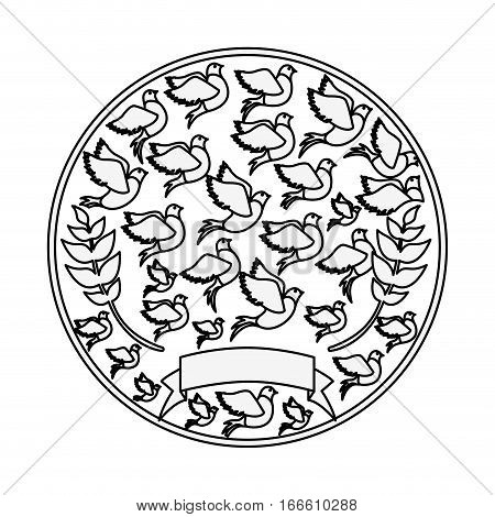 silhouete circular pattern with pigeons vector illustration