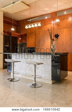 Stone Kitchen Island With Stools