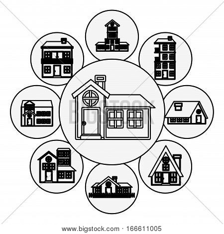 silhouette pattern with houses logo design in bubbles vector illustration
