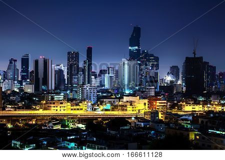 Beautiful night city Modern night cityscape of Bangkok Thailand urban and street in the night futuristic architecture nighttime illumination.