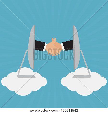 Handshake of businessman for partnership greeting deal cloud online solution concept. Vector illustration e-commerce business concept design.