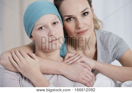 Sad Cancer Woman With Sister