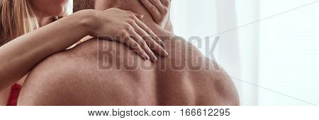 Woman Touching His Lover's Neck