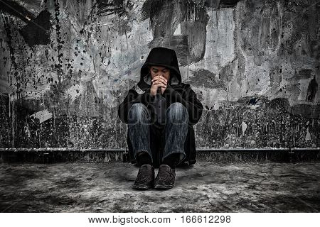 Drug Abuse Concept., Overdose Asian Male Drug Addict With Problems, Man In Hood With Frustrated Depr