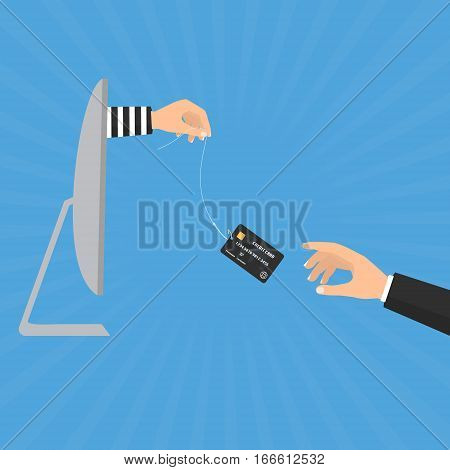 Hacker thief hand with fishing hook with credit cards from computer internet online and victim businessman hand. Vector illustration business and cyber crime concept design.