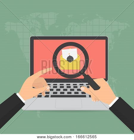 Hands holding magnifying glass with malware virus bomb email detected found on laptop. Vector illustration flat design computer technology online internet cyber crime protected concept.