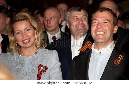 MOSCOW-May 9:Russian President Dmitry Medvedev and his wife, Svetlana at the celebration of the 65th anniversary of Victory in Great Patriotic War.May 9, 2010 on Sofiiskaya Embankment in Moscow,Russia