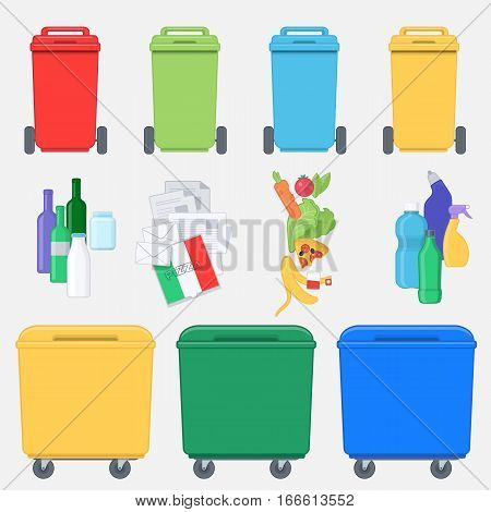 Separation of waste on garbage bins. Recycling bins with plastic paper glass and organic waste. Waste management concept