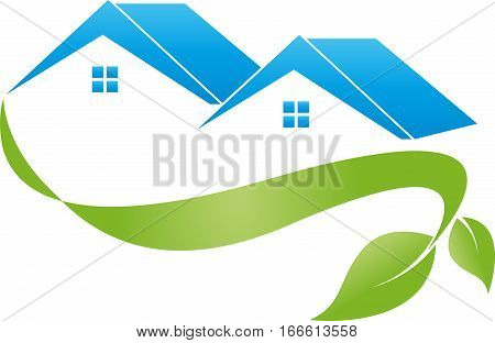 Two houses and plant, ecosystem and eco houses logo