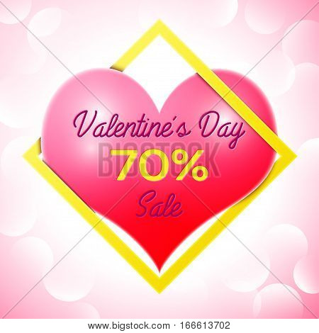 Realistic red heart with an inscription in centre text Valentines Day Sale 70 percent Discounts in yellow square frame. SALE concept for shopping, mobile devices, online shop. Vector illustration.