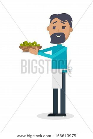Man with olives isolated on white. Seller propose fresh olives at Spain festival. Flat style design. Best price. Man with beard in white apron sale green olives. Holiday event. Vector illustration